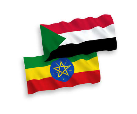 National vector fabric wave flags of Sudan and Ethiopia isolated on white background. 1 to 2 proportion. Ilustração