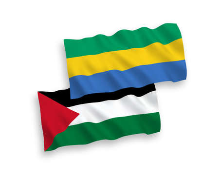 National vector fabric wave flags of Gabon and Palestine isolated on white background. 1 to 2 proportion.