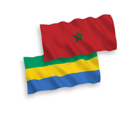 National vector fabric wave flags of Gabon and Morocco isolated on white background. 1 to 2 proportion. Ilustração