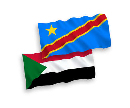 National vector fabric wave flags of Sudan and Democratic Republic of the Congo isolated on white background. 1 to 2 proportion.