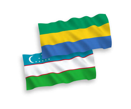 National vector fabric wave flags of Gabon and Uzbekistan isolated on white background. 1 to 2 proportion.