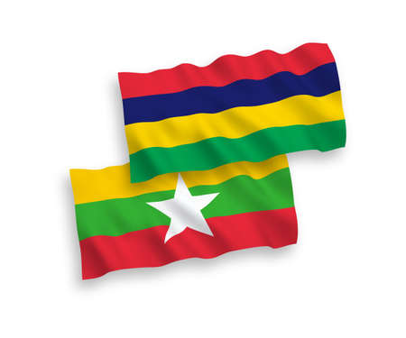 National vector fabric wave flags of Mauritius and Myanmar isolated on white background. 1 to 2 proportion.