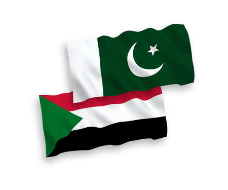 National vector fabric wave flags of Sudan and Pakistan isolated on white background. 1 to 2 proportion. Ilustração