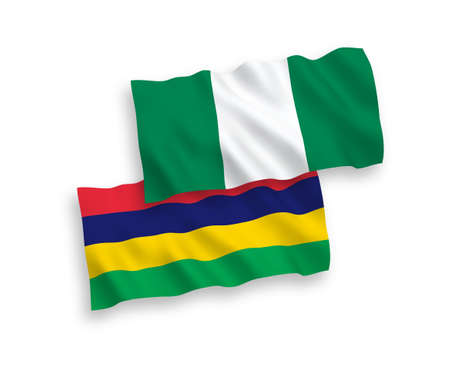 National vector fabric wave flags of Mauritius and Nigeria isolated on white background. 1 to 2 proportion.
