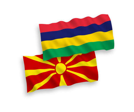 National vector fabric wave flags of Mauritius and North Macedonia isolated on white background. 1 to 2 proportion. Ilustração