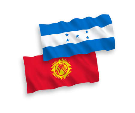 National vector fabric wave flags of Kyrgyzstan and Honduras isolated on white background. 1 to 2 proportion.