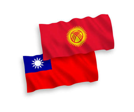 National vector fabric wave flags of Kyrgyzstan and Taiwan isolated on white background. 1 to 2 proportion. Ilustração