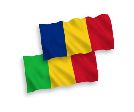 National vector fabric wave flags of Romania and Mali isolated on white background. 1 to 2 proportion.