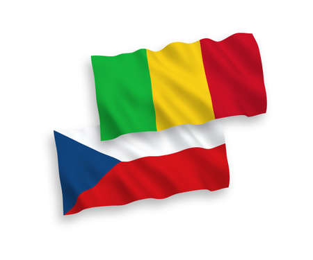 National vector fabric wave flags of Czech Republic and Mali isolated on white background. 1 to 2 proportion.