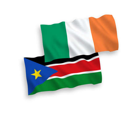 National vector fabric wave flags of Ireland and Republic of South Sudan isolated on white background. 1 to 2 proportion. Ilustração