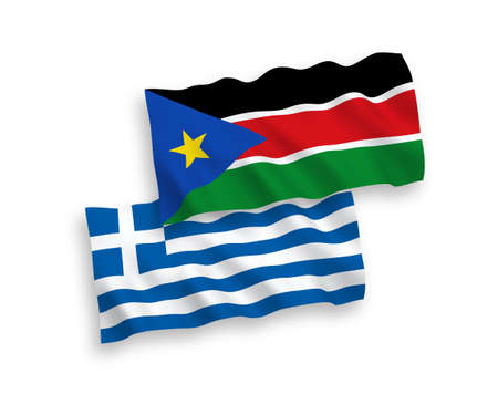 National vector fabric wave flags of Greece and Republic of South Sudan isolated on white background. 1 to 2 proportion.