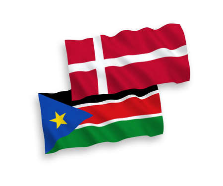 National vector fabric wave flags of Denmark and Republic of South Sudan isolated on white background. 1 to 2 proportion. Ilustração