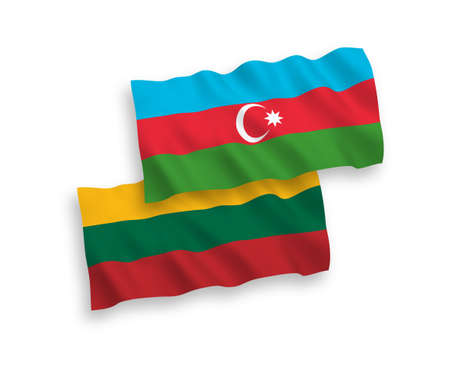 National vector fabric wave flags of Lithuania and Azerbaijan isolated on white background. 1 to 2 proportion. Ilustração