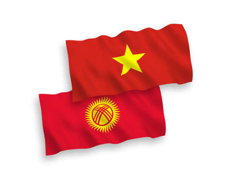 National vector fabric wave flags of Kyrgyzstan and Vietnam isolated on white background. 1 to 2 proportion.