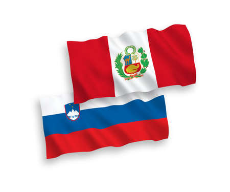 National vector fabric wave flags of Slovenia and Peru isolated on white background. 1 to 2 proportion.