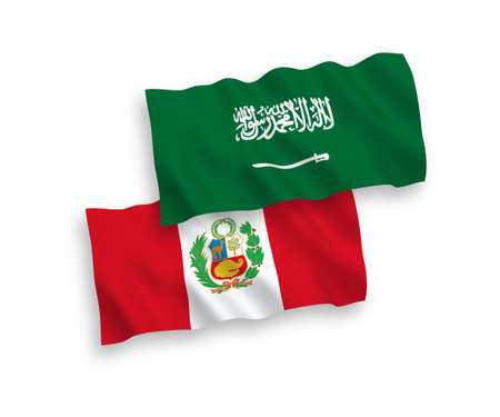 National vector fabric wave flags of Saudi Arabia and Peru isolated on white background. 1 to 2 proportion. Ilustração
