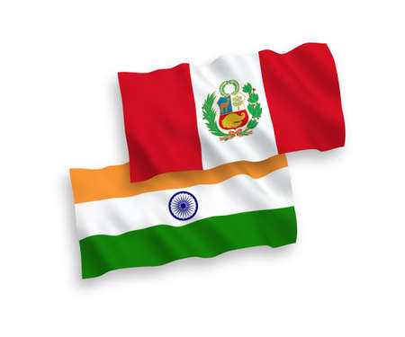 National vector fabric wave flags of India and Peru isolated on white background. 1 to 2 proportion.