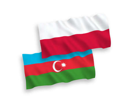 National vector fabric wave flags of Azerbaijan and Poland isolated on white background. 1 to 2 proportion.