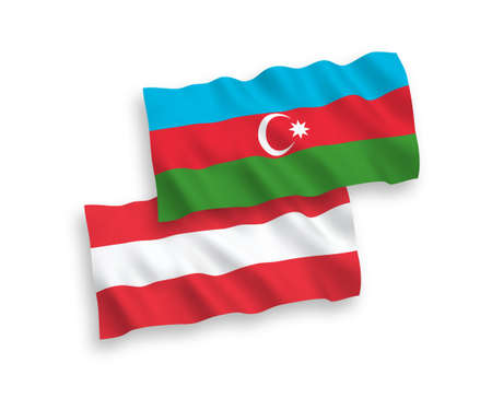 National vector fabric wave flags of Austria and Azerbaijan isolated on white background. 1 to 2 proportion.