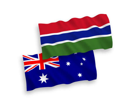 National vector fabric wave flags of Australia and Republic of Gambia isolated on white background. 1 to 2 proportion.