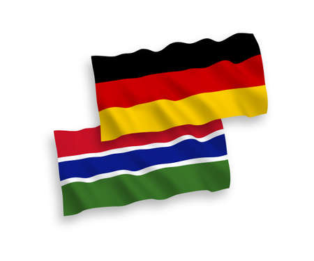 National vector fabric wave flags of Germany and Republic of Gambia isolated on white background. 1 to 2 proportion.