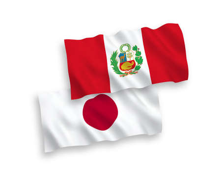 National vector fabric wave flags of Japan and Peru isolated on white background. 1 to 2 proportion.