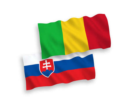 National vector fabric wave flags of Slovakia and Mali isolated on white background. 1 to 2 proportion. Ilustração