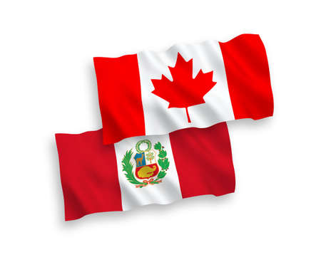 National vector fabric wave flags of Canada and Peru isolated on white background. 1 to 2 proportion.