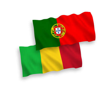 National vector fabric wave flags of Portugal and Mali isolated on white background. 1 to 2 proportion. Ilustração