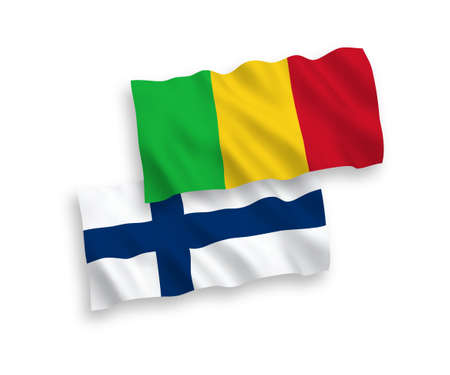 National vector fabric wave flags of Finland and Mali isolated on white background. 1 to 2 proportion. Ilustração