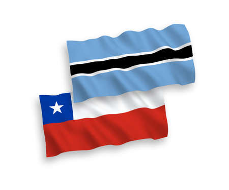 National vector fabric wave flags of Botswana and Chile isolated on white background. 1 to 2 proportion.