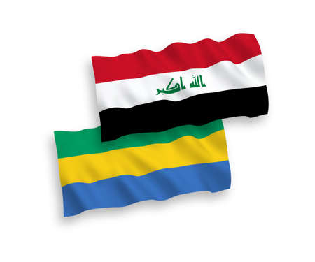 National vector fabric wave flags of Gabon and Iraq isolated on white background. 1 to 2 proportion.