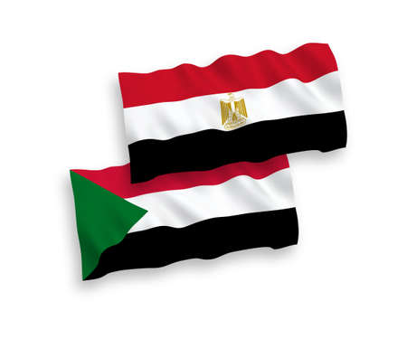 National vector fabric wave flags of Sudan and Egypt isolated on white background. 1 to 2 proportion.
