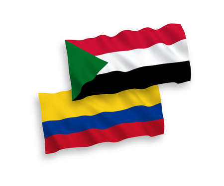 National vector fabric wave flags of Sudan and Colombia isolated on white background. 1 to 2 proportion.