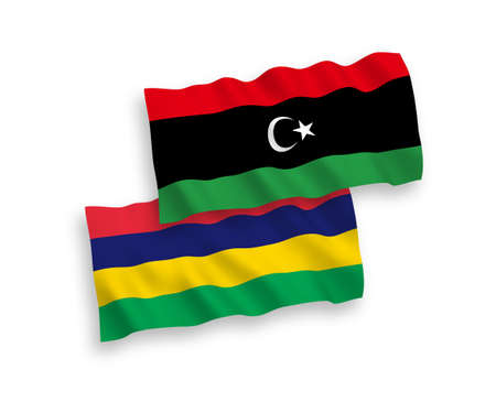 National vector fabric wave flags of Mauritius and Libya isolated on white background. 1 to 2 proportion. Ilustração