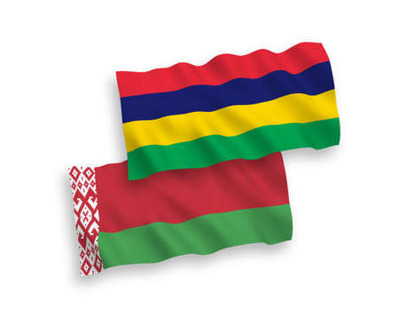 National vector fabric wave flags of Mauritius and Belarus isolated on white background. 1 to 2 proportion.