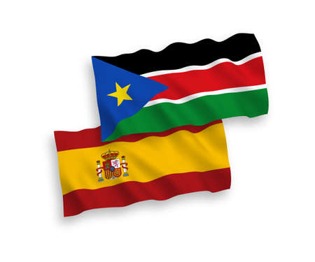 National vector fabric wave flags of Republic of South Sudan and Spain isolated on white background. 1 to 2 proportion.