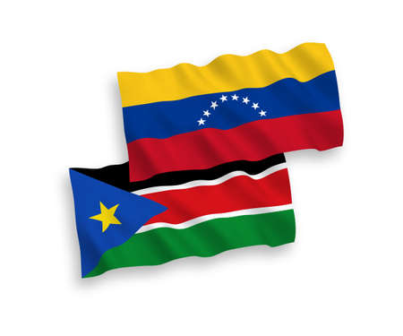 National vector fabric wave flags of Venezuela and Republic of South Sudan isolated on white background. 1 to 2 proportion.