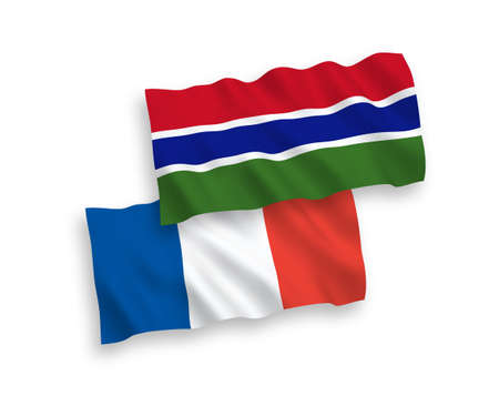 National vector fabric wave flags of France and Republic of Gambia isolated on white background. 1 to 2 proportion.
