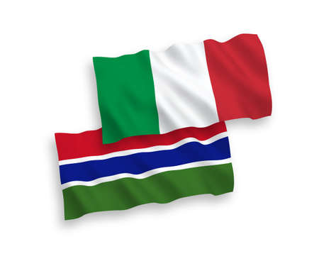 National vector fabric wave flags of Italy and Republic of Gambia isolated on white background. 1 to 2 proportion. Ilustração