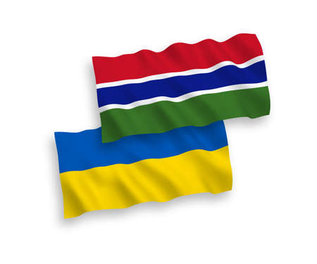National vector fabric wave flags of Republic of Gambia and Ukraine isolated on white background. 1 to 2 proportion.