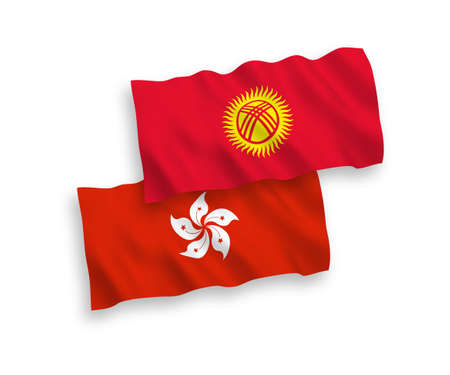 National vector fabric wave flags of Kyrgyzstan and Hong Kong isolated on white background. 1 to 2 proportion. Ilustração