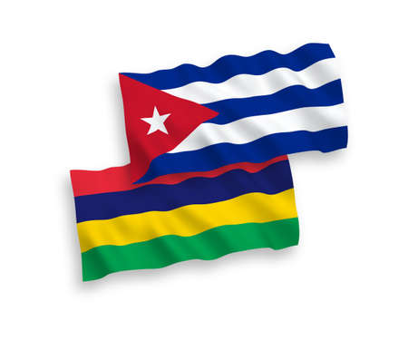 National vector fabric wave flags of Mauritius and Cuba isolated on white background. 1 to 2 proportion. 写真素材 - 150634146