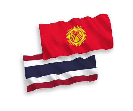 National vector fabric wave flags of Kyrgyzstan and Thailand isolated on white background. 1 to 2 proportion.
