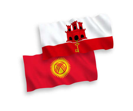 National vector fabric wave flags of Kyrgyzstan and Gibraltar isolated on white background. 1 to 2 proportion.