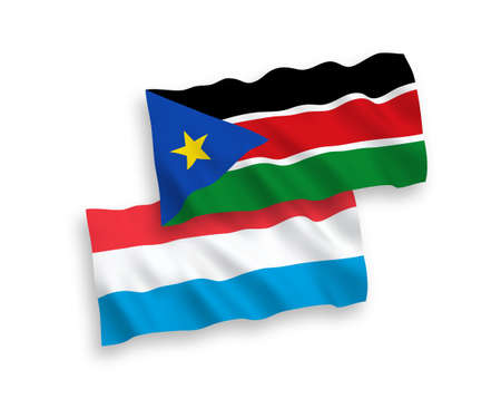 National vector fabric wave flags of Republic of South Sudan and Luxembourg isolated on white background. 1 to 2 proportion.