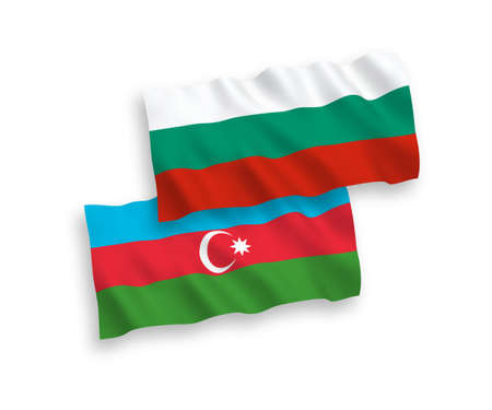 National vector fabric wave flags of Bulgaria and Azerbaijan isolated on white background. 1 to 2 proportion.