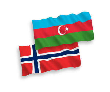 National vector fabric wave flags of Norway and Azerbaijan isolated on white background. 1 to 2 proportion.