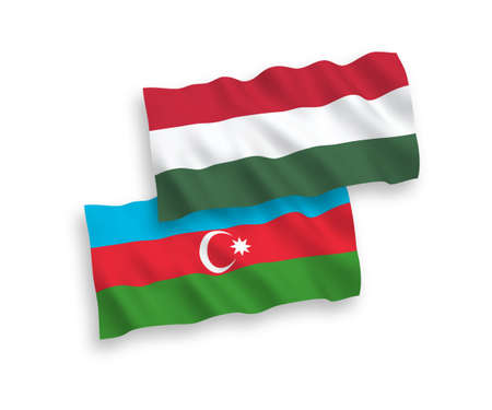 National vector fabric wave flags of Azerbaijan and Hungary isolated on white background. 1 to 2 proportion.