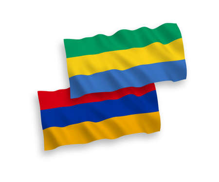 National vector fabric wave flags of Gabon and Armenia isolated on white background. 1 to 2 proportion. Ilustração
